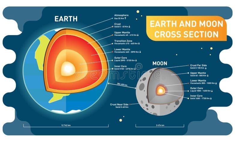 Camadas da comparação da terra e da lua, tamanho e distância de seção transversal Cartaz educacional da informação de ciência Ilu ilustração royalty free