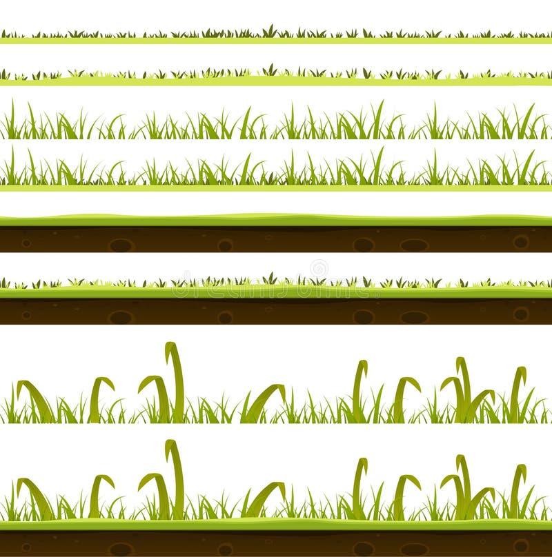 Camadas da grama e do gramado ajustadas ilustração royalty free