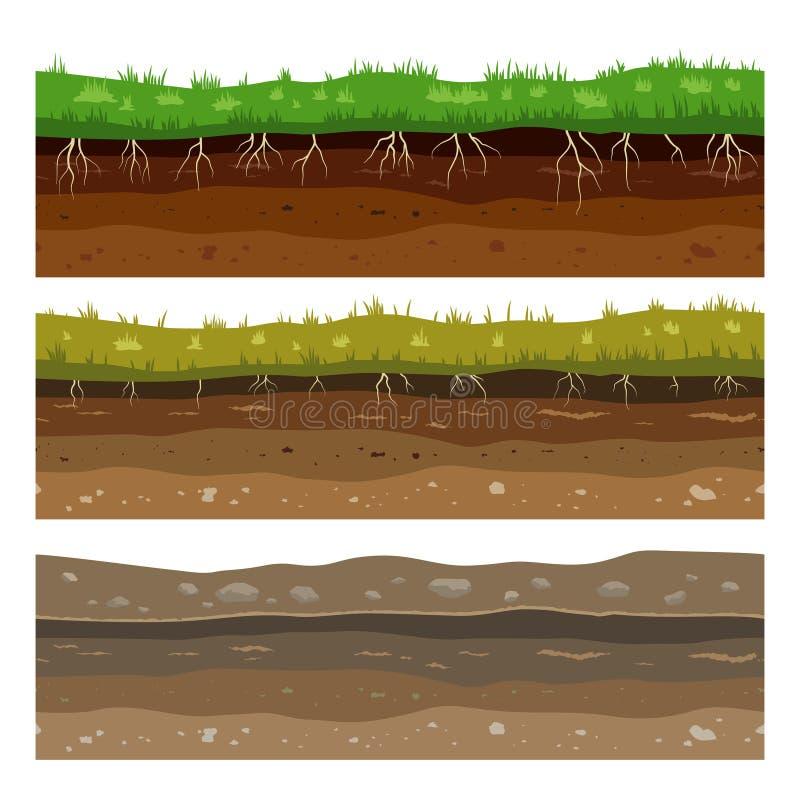 Camadas da terra do solo Textura de superfície da argila sem emenda da sujeira da terra do campo com pedras e grama Vetor ilustração royalty free