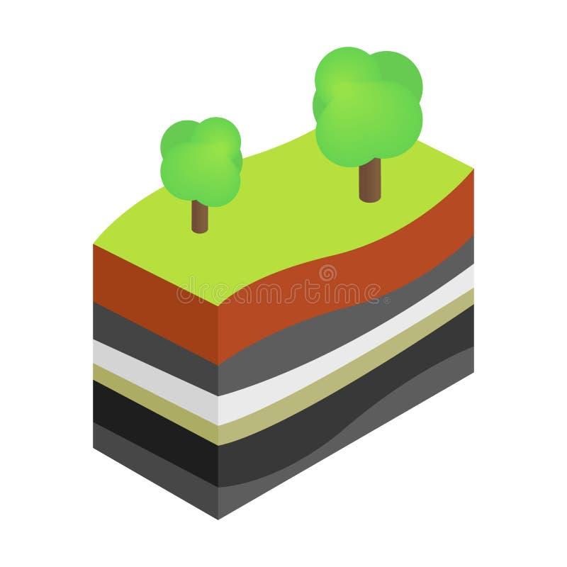 Camadas de ícone isométrico da terra 3d ilustração royalty free