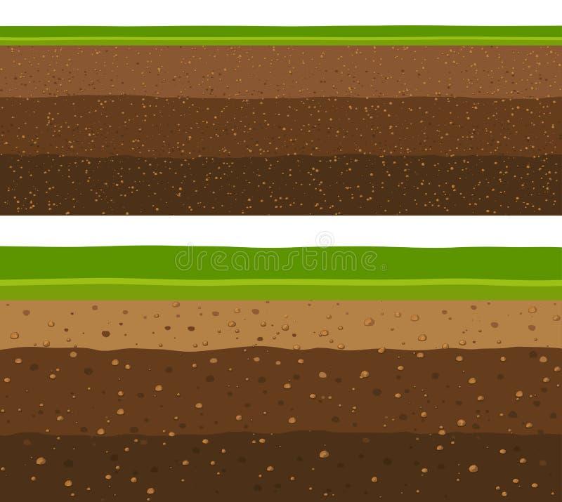 Camadas de grama com camadas subterrâneas de terra ilustração royalty free
