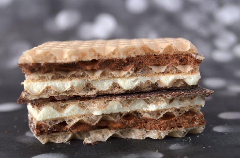 Camadas de um bolo de Waffer, macro foto de stock