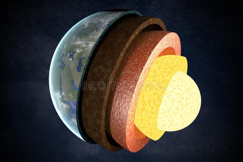 Camadas e estrutura da terra 3D rendeu a ilustração ilustração do vetor
