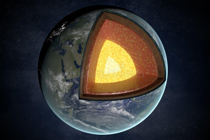 Camadas e estrutura da terra 3D rendeu a ilustração ilustração royalty free
