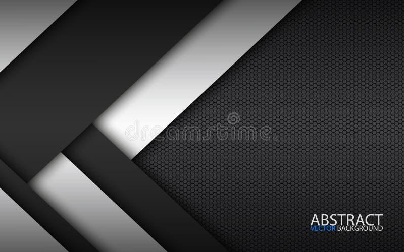 Camadas preto e branco acima de se, projeto material moderno com um teste padrão sextavado, molde incorporado ilustração do vetor