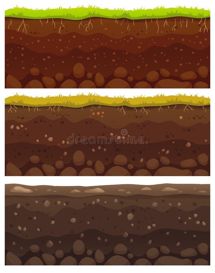 Camadas sem emenda do solo A argila mergulhada da sujeira, a camada à terra com pedras e a grama no penhasco das sujeiras texture ilustração royalty free