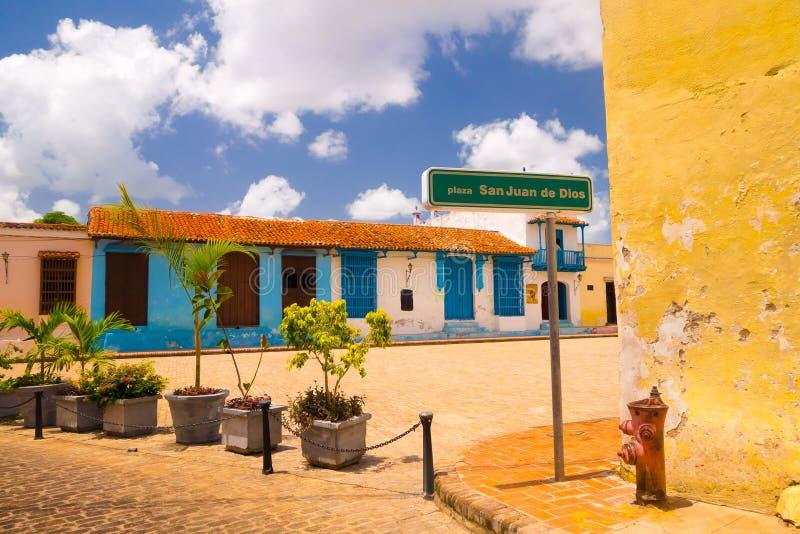 Camaguey, Куба - старый городок перечислил на мире ЮНЕСКО стоковые фотографии rf