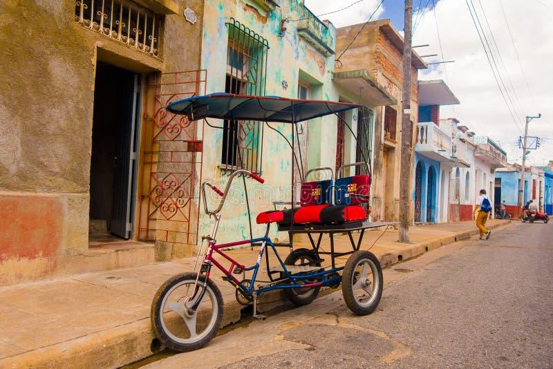 CAMAGUEY, CUBA - SEPTEMBER 4, 2015: bicitaxi is a stock photos