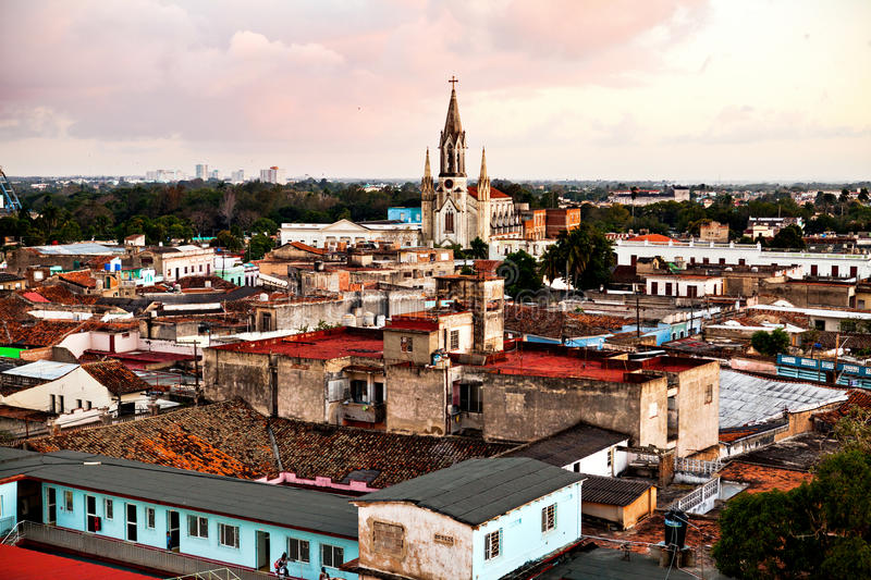 Camaguey UNESCO World Heritage Centre from above. View of the roofs and the Sacred Heart of Jesus Cathedral Iglesia del Sagrad royalty free stock photography