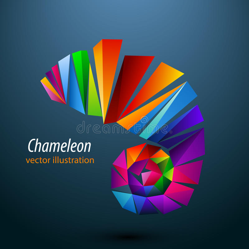 Camaleão dos triângulos da cor logo ilustração stock