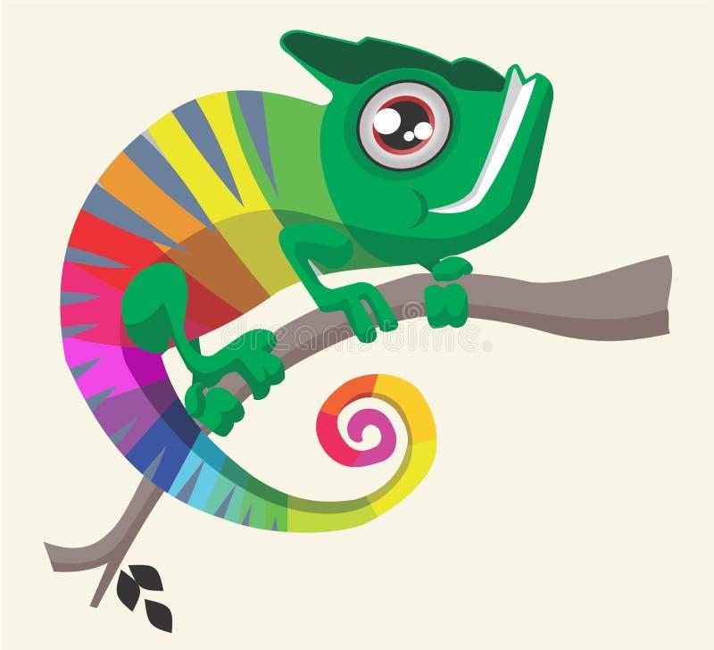 Camaleão engraçado de sorriso do arco-íris ilustração royalty free