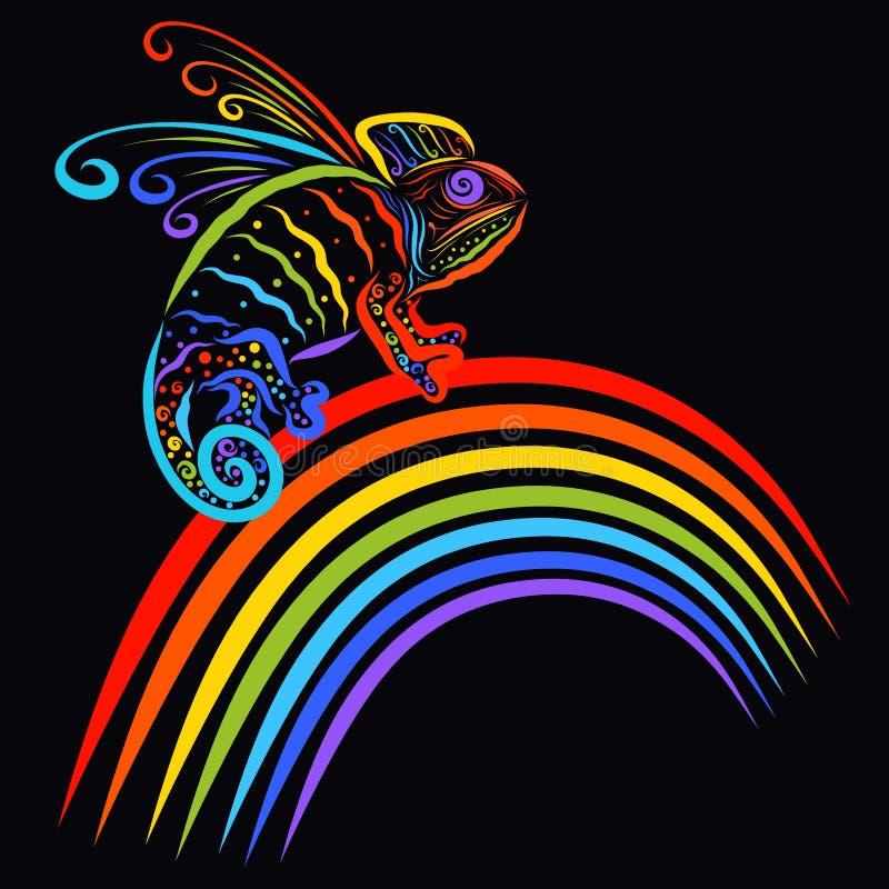 Camaleão voado ou dragão arco-íris-colorido engraçado que sentam-se em um ra ilustração stock