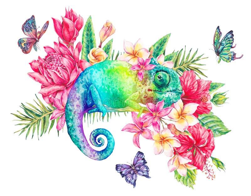 Camaleón verde de la acuarela con las mariposas, flores ilustración del vector