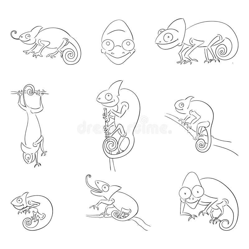 Camaleões no grupo diferente das ilustrações do esboço das poses ilustração stock