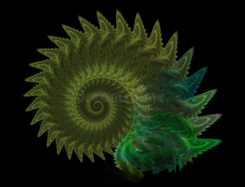 camaleonte Arte digitale a spirale Un computer astratto ha generato un elemento frattale a spirale moderno Modello per la progett illustrazione di stock