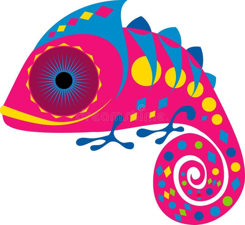 Camaleonte porpora del fumetto con l'ornamento geometrico, vettore immagini stock
