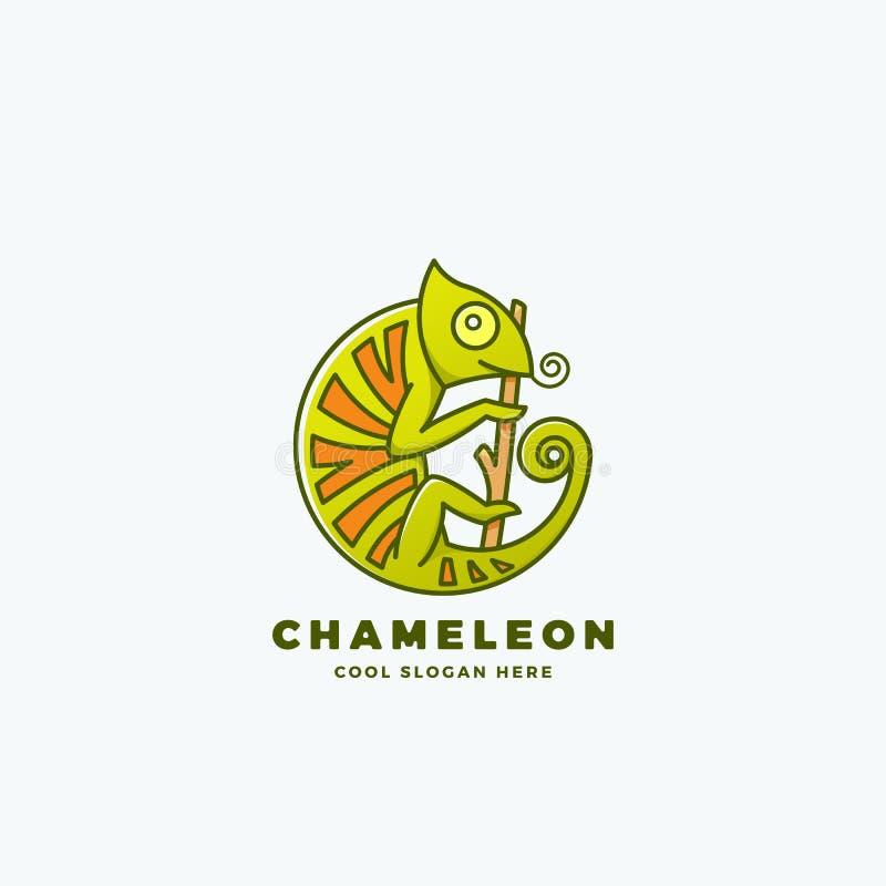 Camaleonte sul ramo in una forma del cerchio Linea astratta segno, emblema o Logo Template di vettore di stile Simbolo del rettil royalty illustrazione gratis