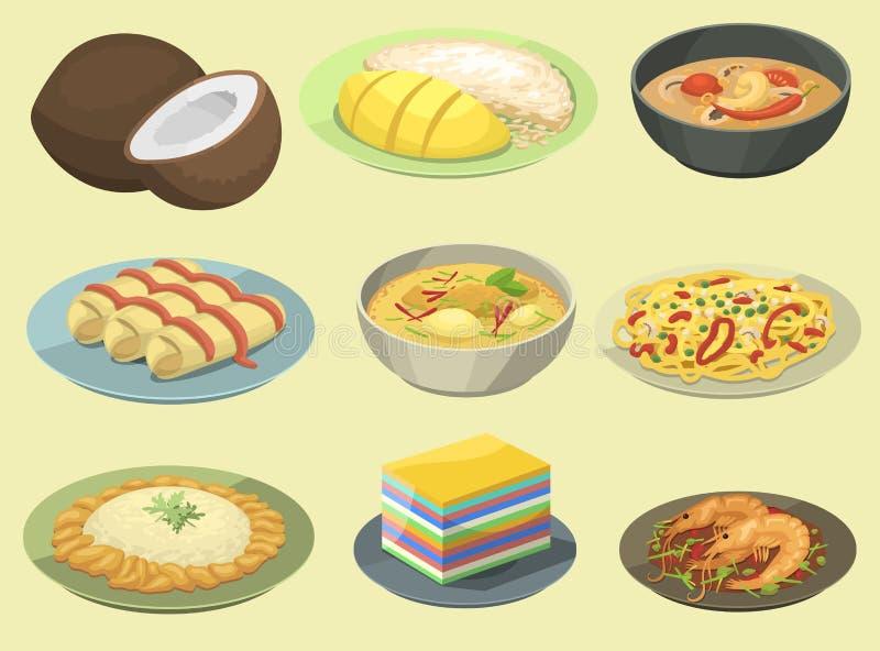 Camarão asiático do marisco da culinária da placa de Tailândia do alimento tailandês nacional tradicional que cozinha a ilustraçã ilustração royalty free