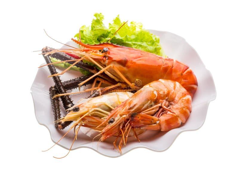 Camarão e camarões de água doce gigantes do rei fotos de stock royalty free
