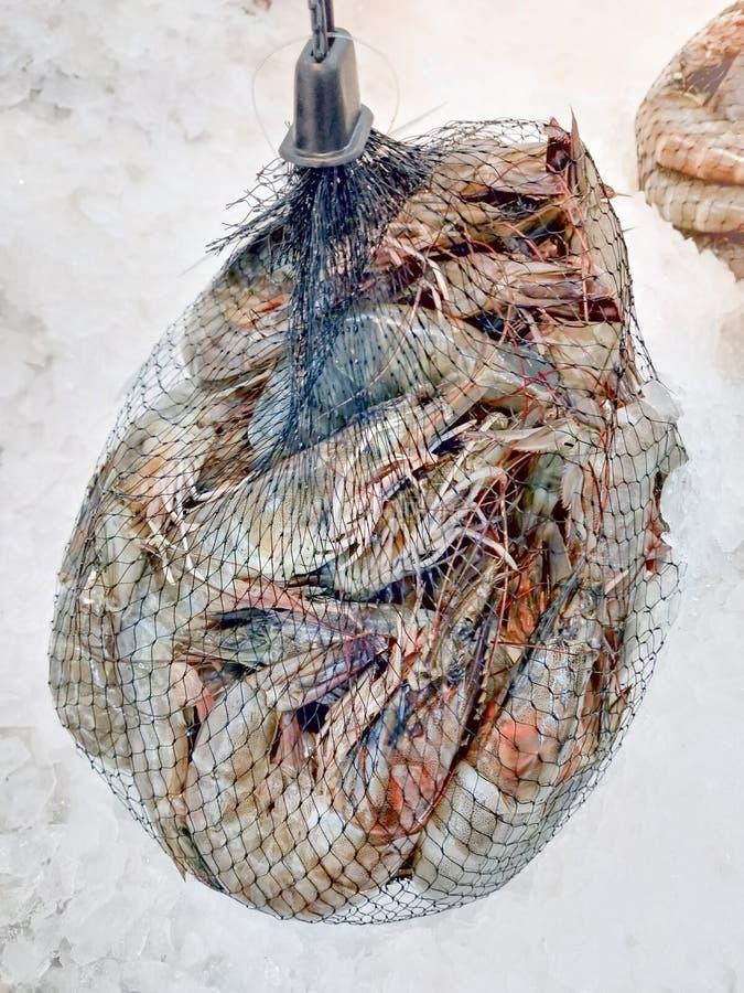 Camarão fresco embalado em um saco líquido para a venda no mercado do marisco foto de stock royalty free