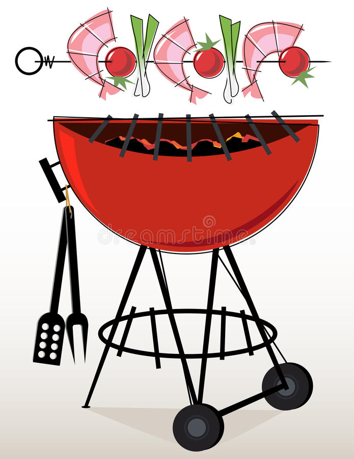camarão Kebabs do BBQ do Retro-estilo ilustração royalty free