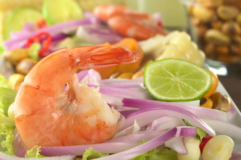 Camarão peruano Ceviche imagens de stock