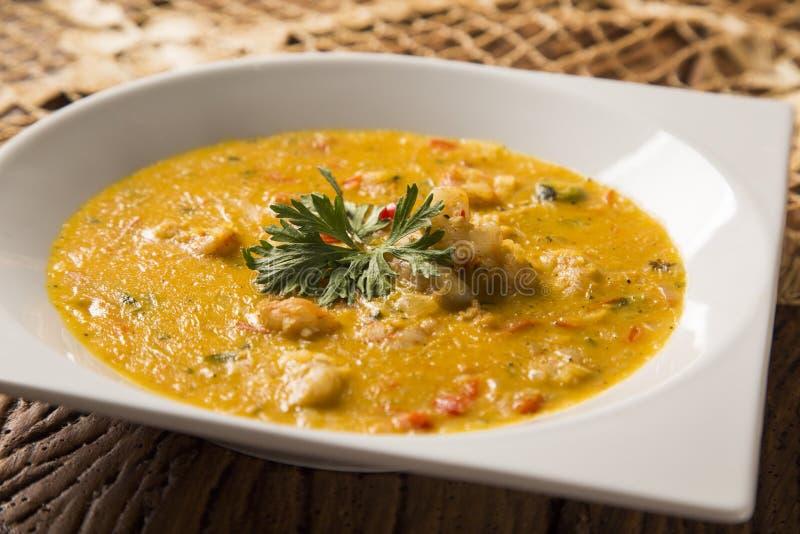 Camarón Bobo - un plato brasileño del camarón en un puro de la comida de la mandioca y de la leche de coco imágenes de archivo libres de regalías