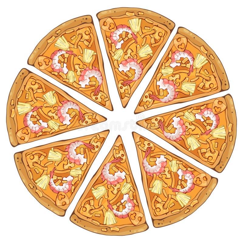 Camarón de la pizza stock de ilustración