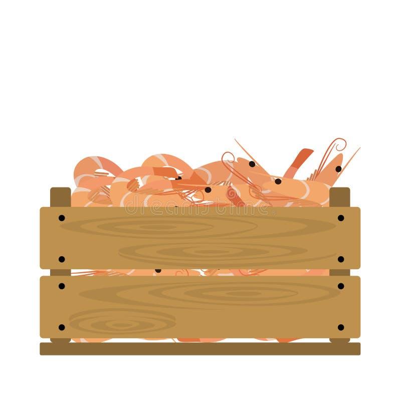 Camarón en cajón stock de ilustración