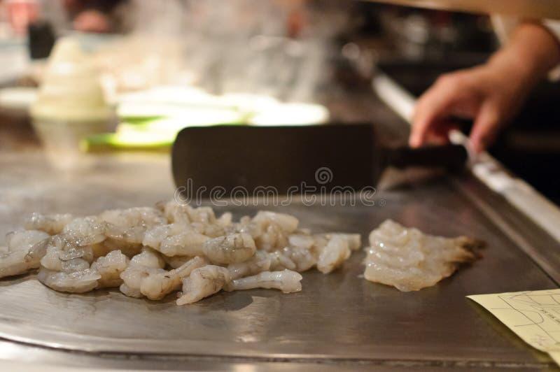 Camarón en un restaurante japonés imágenes de archivo libres de regalías