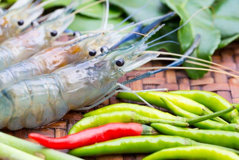 Camarón fresco e ingredientes frescos para el gung de tom yum fotografía de archivo