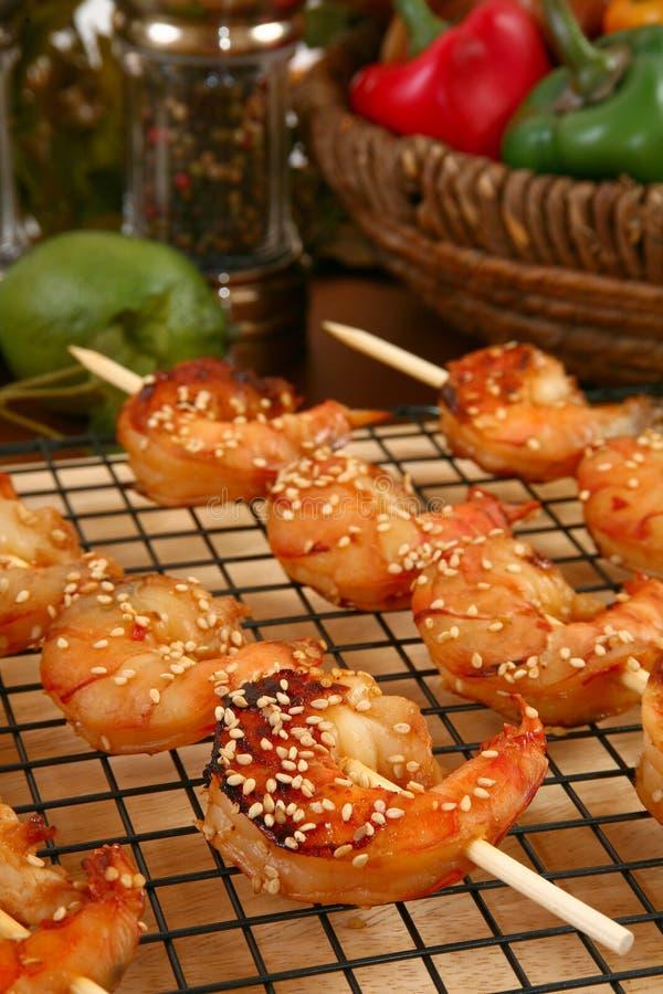 Camarón Kebabs de Teriyaki del jengibre foto de archivo libre de regalías