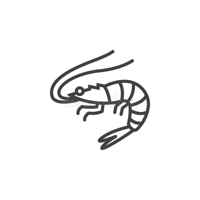 Camarón, línea icono, muestra del vector del esquema, pictograma linear de la gamba aislado en blanco stock de ilustración