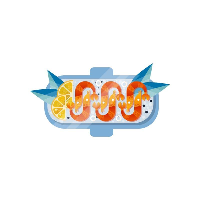 Camarón, rebanadas de limón fresco y hojas del azul en la placa Comida apetitosa Tema de los mariscos Diseño plano del vector con ilustración del vector
