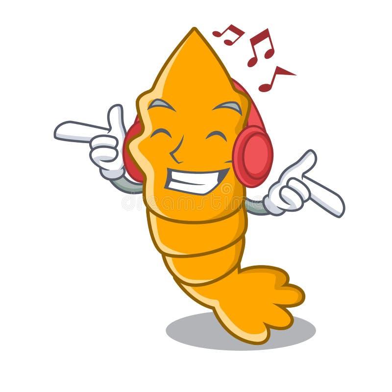 Camarões cozinhados música de escuta isolados em desenhos animados da mascote ilustração royalty free