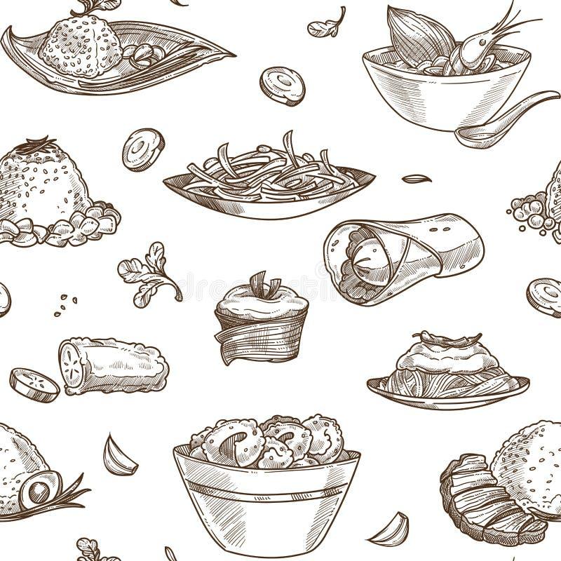 Camarões do marisco da sopa no esboço monocromático do esboço da bacia ilustração do vetor