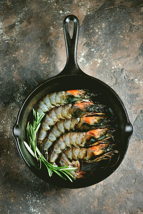 Camarões frescos crus do tigre com uma frigideira do ferro fundido com alecrins frescos e sal cor-de-rosa Alimento de mar saudáve imagens de stock royalty free