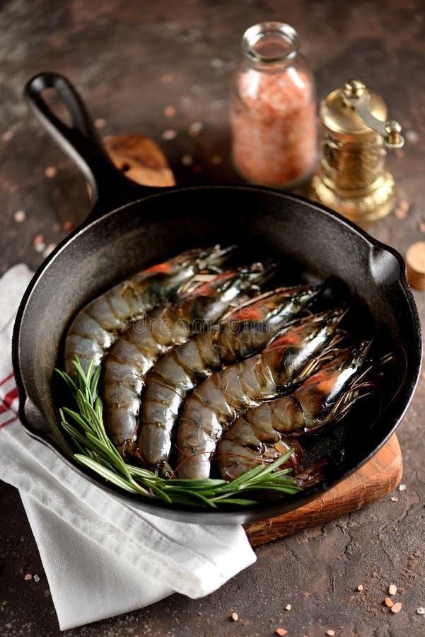 Camarões frescos crus do tigre com uma frigideira do ferro fundido com alecrins frescos e sal cor-de-rosa Alimento de mar saudáve fotografia de stock