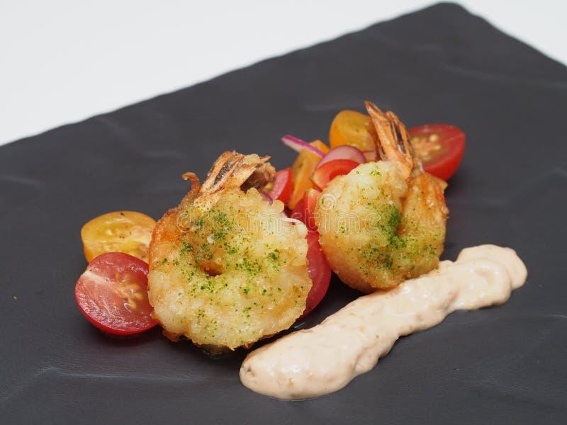 Camarões fritados do wasabi imagem de stock