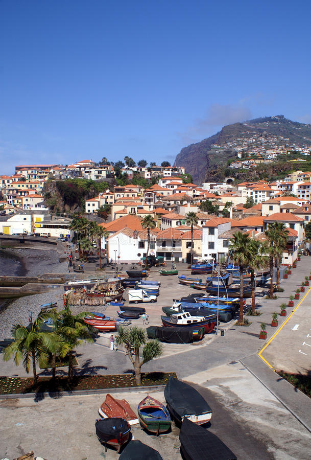 Camara de Lobos, Madeira. Fishing village Camara de Lobos on madeira. Cabo Girao, the second highest cliff in the world on the background stock images