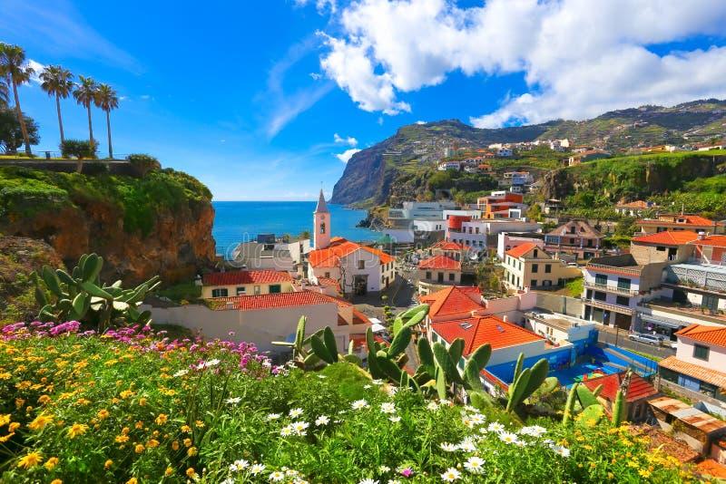 Camara de Lobos in Madeira. Beautiful panorama over the cityscape of Camara de Lobos in Madeira island, Portugal stock photos