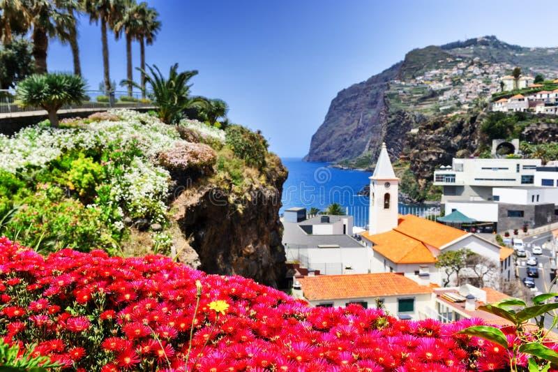 Camara de Lobos, small fisherman village on Madeira island. View of Camara de Lobos, small fisherman village on Madeira island stock photo