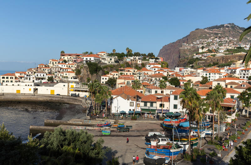 Camara De Lobos - tradycyjna wioska rybacka, lokalizująca pięć kilometrów od Funchal na maderze zdjęcie stock