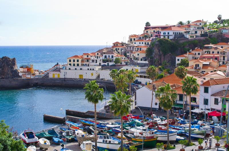 Camara De Lobos wioska - madery wyspa, Portugalia fotografia royalty free