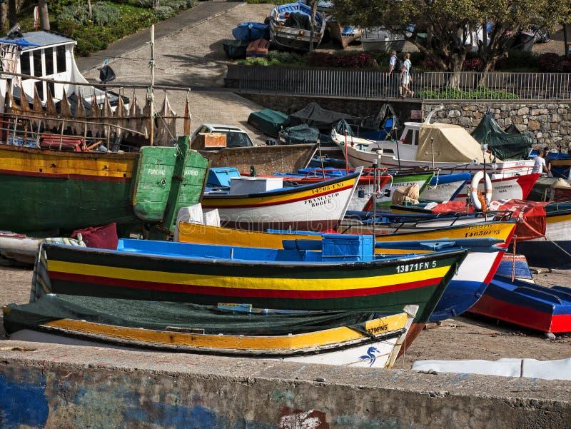 Camara De Lobos wioska rybacka blisko miasta Funchal madera niektóre wysoki obrazy stock