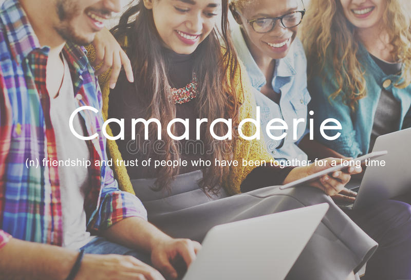 Camaraderie Carefree Chill Friends Togetherness Concept. Camaraderie Carefree Chill Friends Togetherness stock image