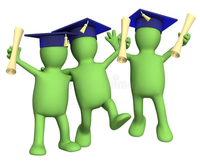 Camarades de classe heureux d'amis avec des diplômes illustration de vecteur