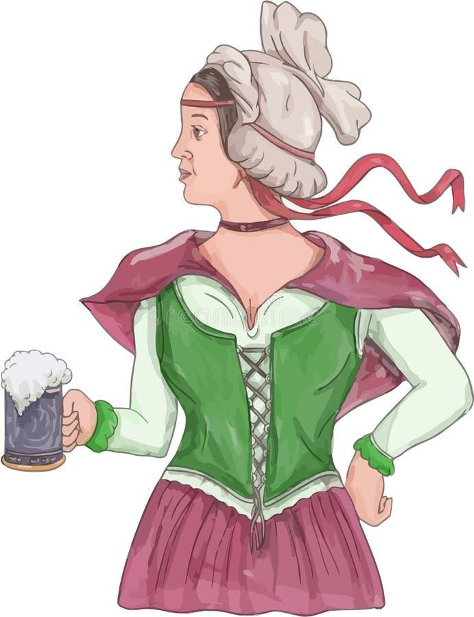 Camarera alemana Serving Beer Watercolor libre illustration