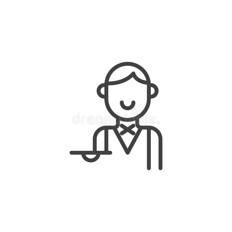 Camarera con la línea icono de la bandeja stock de ilustración