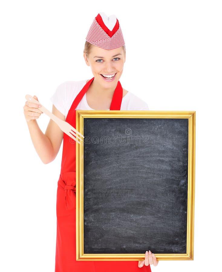 Camarera con un tablero de tiza imagenes de archivo